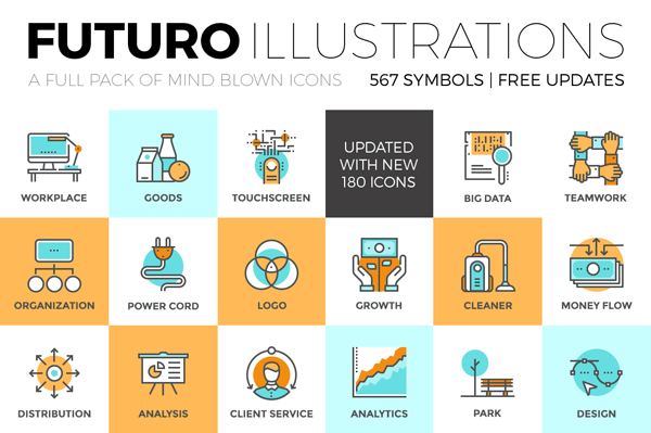 The Futuro icons collection is a full pack of mind blowing illustrations and symbols with free updates.