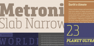The Metronic Slab Narrow font family is a condensed version Metronic Slab from type foundry Mostardesign.