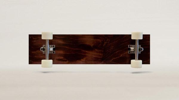 Underside of the maple wood skateboard.