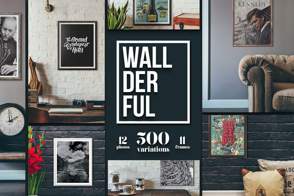 Wallderful frames mockups with 12 photos, 500 variations, and 11 frames.