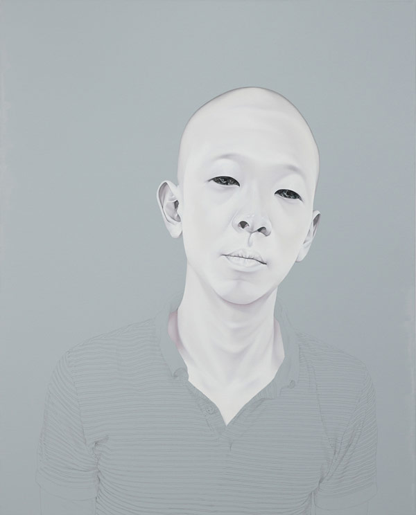 Portrait painting by Sungsoo Kim with oil and acrylic on canvas in the size 162x130cm.
