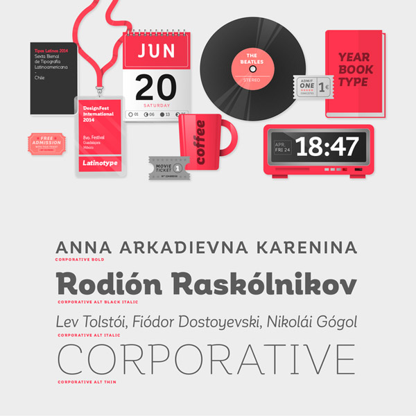 The versatile Corporative font family can be used for a wide range of applications.