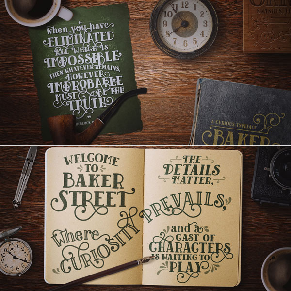 baker street fonts designed by kimmy kirkwood these typefaces are inspired by old english signage