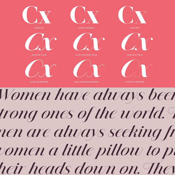 The Jules display font family offers a classic look.