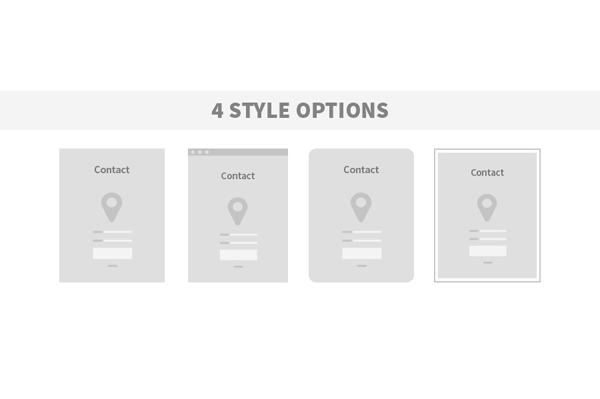 Wireframes with 4 style options (sharp corners, rounded corners, windowed, and bordered).