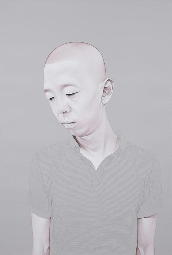 Melancholy portraits created by South Korean artist Sungsoo Kim with oil and acrylic on canvas.