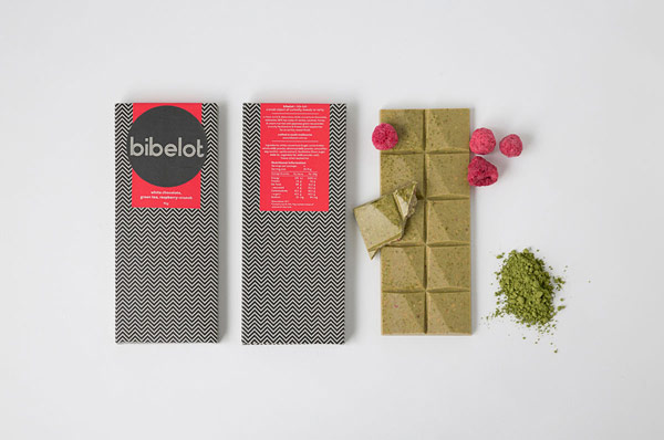 Special chocolate packaging with the logotype and background pattern design.