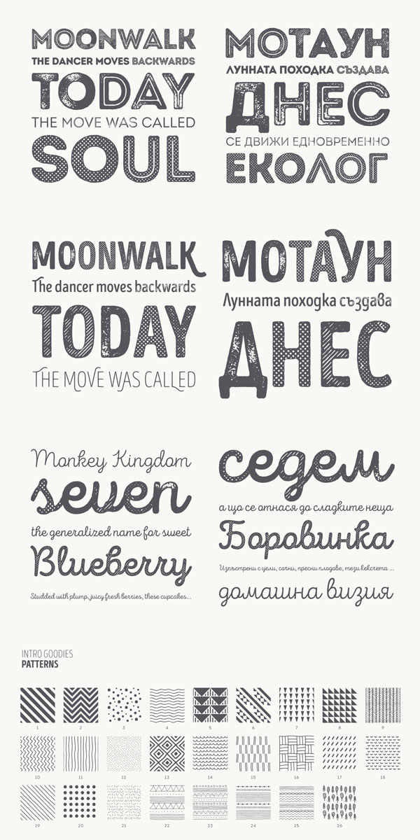 The Intro Rust font family is equipped with so many rough styles, alternate versions, and a nice set of patterns.