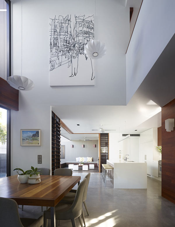 The view towards the kitchen - different areas of the house are connected by open transitions.