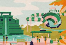 Close up of the colorful water park illustrations.