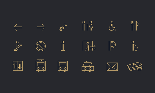Iconography of the branding concept for wayfinding systems and signage.