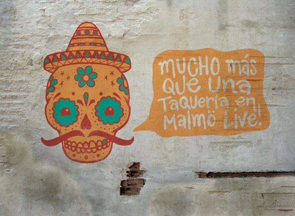 Mexican restaurant mural.