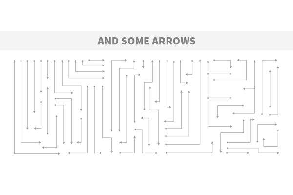 Several premade arrows for your flowcharts.