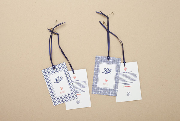 Some hang tags with logo and two different patterns.
