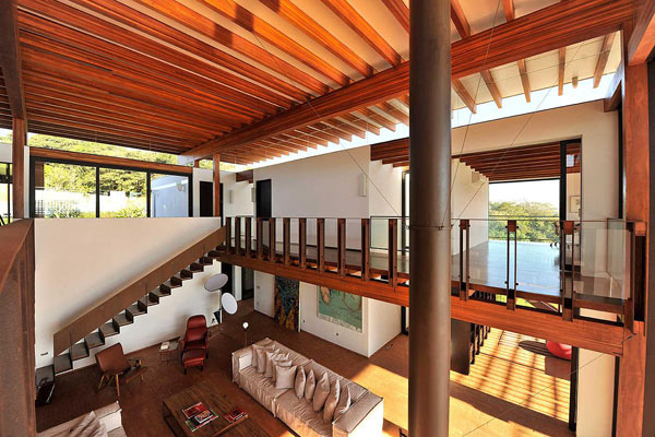 This is the upper level of the luxury house by Candida Tabet Architecture.