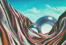A colorful surreal landscape made with different 3D rendering techniques.