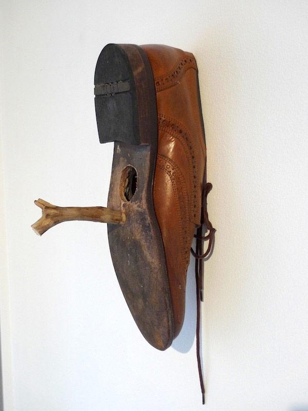 Art installation - bird house-shoe by Jaybo Monk.