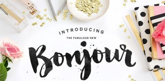Bonjour Typeface with lots of hand painted and extras.