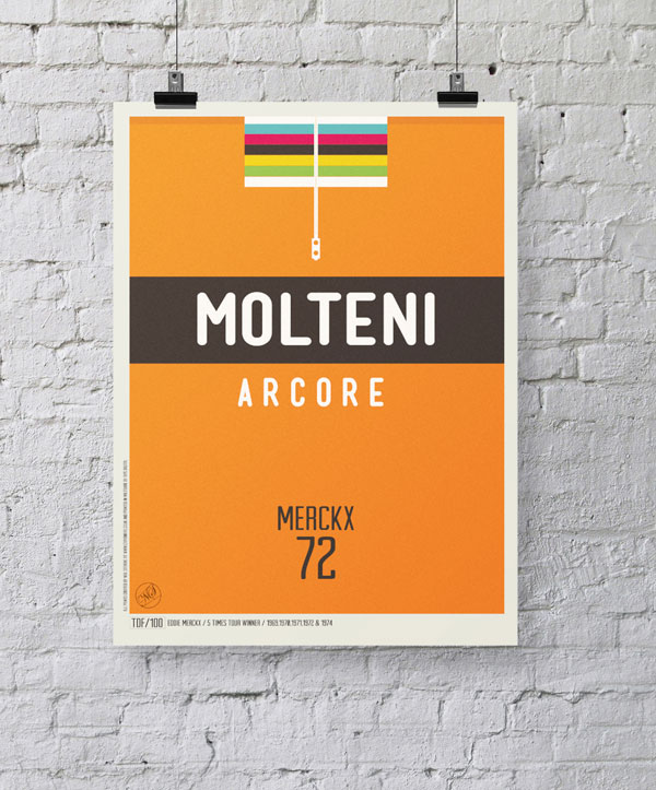 Eddy Merckx Cycling Jersey - Poster design of the Molteni Arcore jersey with the world champion stripes.
