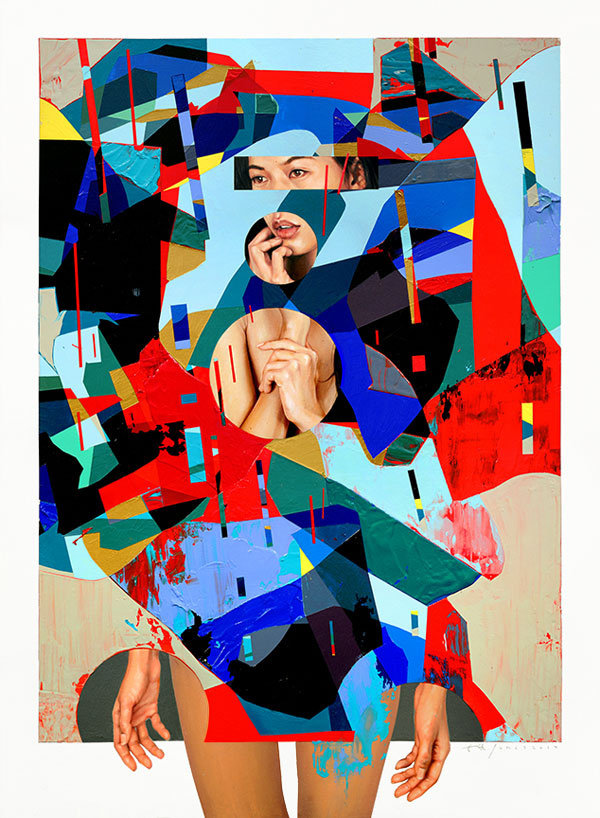 'Mirrors' - modern collage painting in the size of 30x40 inch (76x101cm).