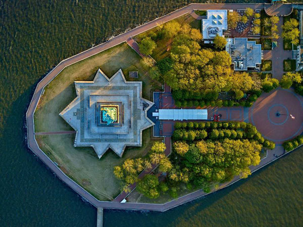 Miss Liberty - Liberty Island aerial photography by Jeffrey Milstein.