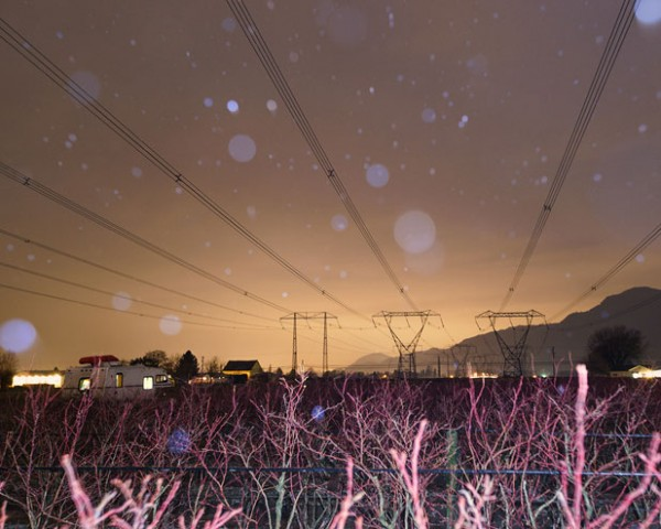 Nightly capture of high-voltage lines.