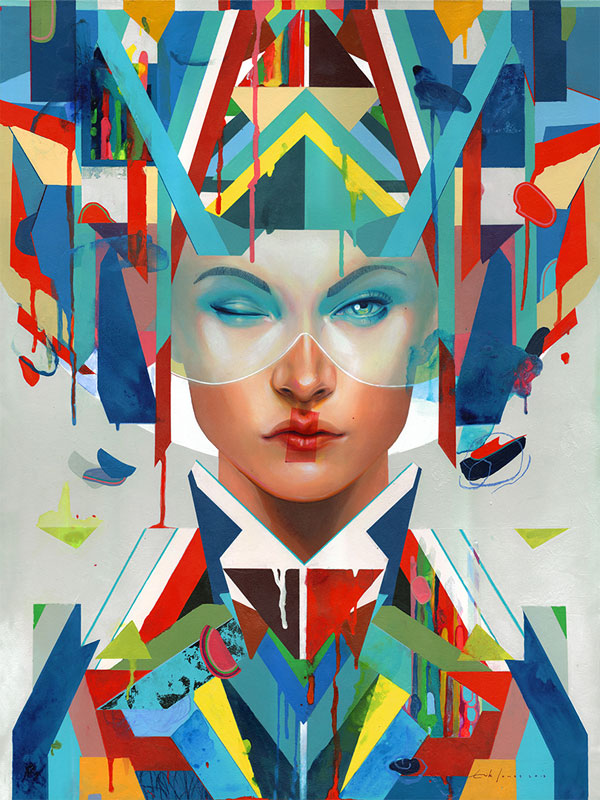 'Racer', another colorful portrait created by painter Erik Jones in 2013.
