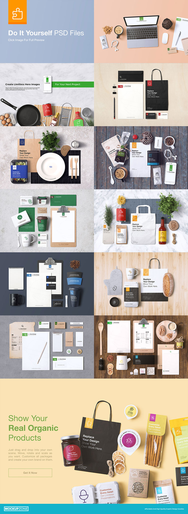 A comprehensive coffee branding and packages mock-up from Mockup Zone.