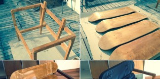 A very creative do-it-yourself project by Carlos Cardoso – He has created a chair of pine wood and some blank skateboard decks.