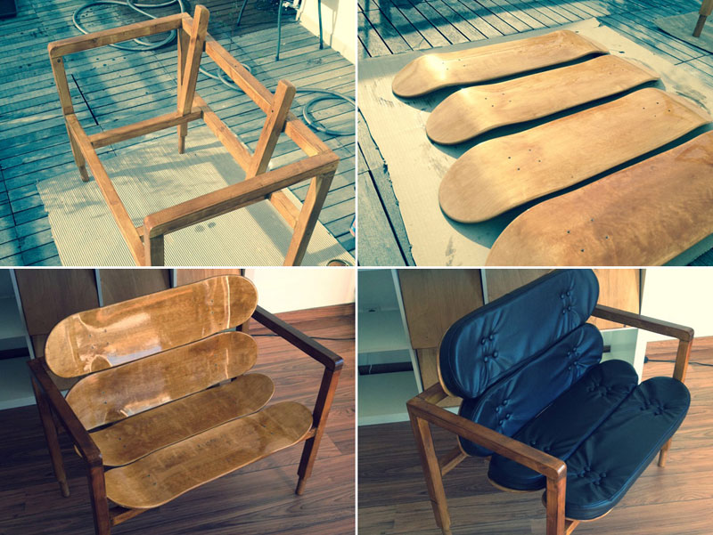 Diy designer chair made of wood and blank skateboards solutioingenieria Gallery
