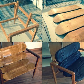DIY Designer Chair Made of Wood and Blank Skateboards