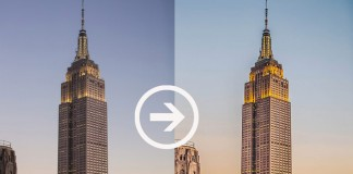 Before and after effect using an example of a photograph of the Empire State Building.
