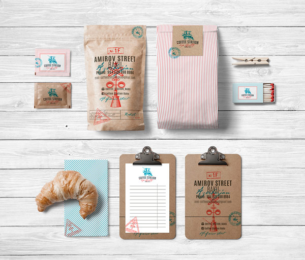Branding by Olena Fedorova for the coffee shop Coffee Station.