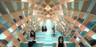 Conarte Library – the council for culture and art in the city of Monterrey, Mexico – Anagrama's interior design proposal creates a space that wraps the reader in.