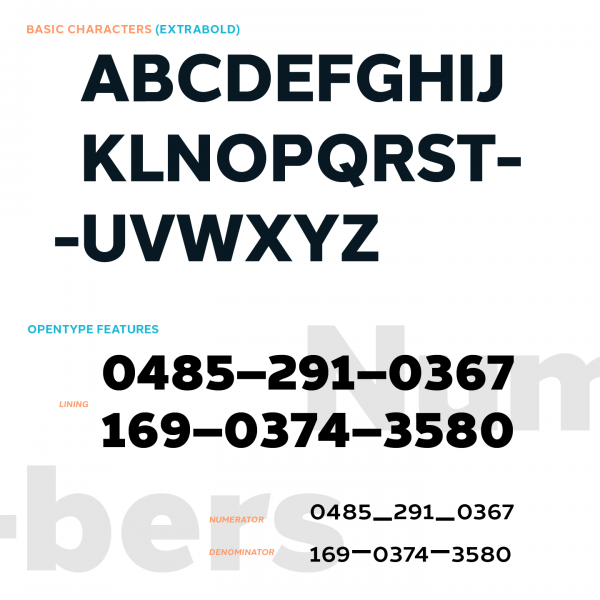 Halcom – examples of basic characters (Extra Bold) and some OpenType features.