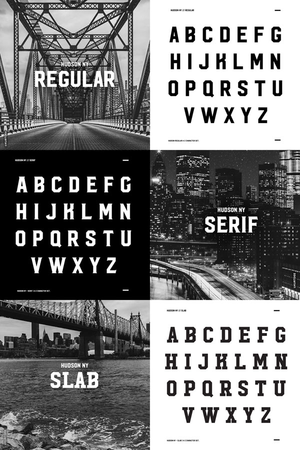 Hudson NY Regular, Serif, and Slab – display fonts with a strong and bold look.