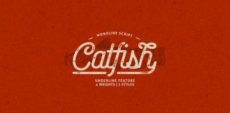 The Catfish font family, a monoline script typeface with a classic vintage touch.