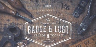 Vintage worn badge and logo vector toolkit with illustrations, frames, brushes, templates, textures, and sunbursts.