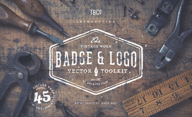Vintage Worn Badge and Logo Toolkit for Download