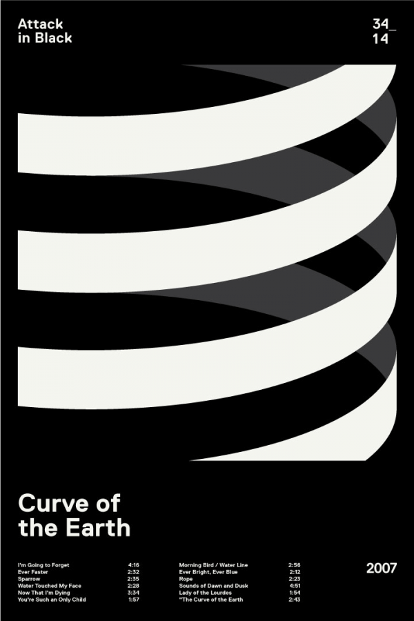 Attack in Black – Curve of the Earth – Album cover design in a Swiss minimalist style.