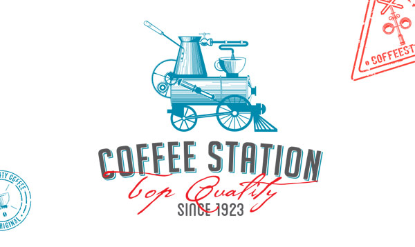 Coffee Station – Top Quality since 1923 – A hand drawn vintage inspired logo created by Olena Fedorova.