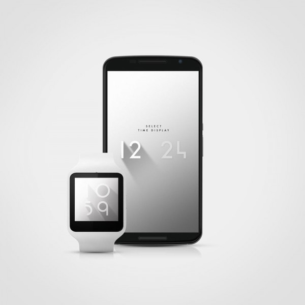 The Shadow Clock watch app works in 12 or 24 hour modes on both smartwatches and Android based phones.