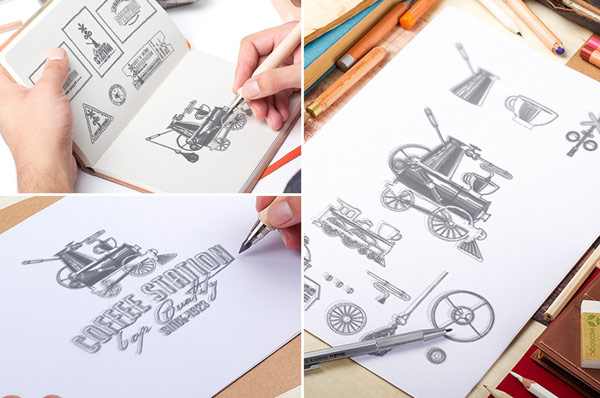The creation process of the hand drawn logo.