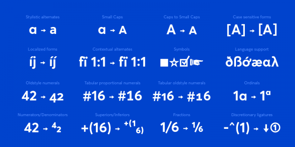 The great set of professional OpenType features.