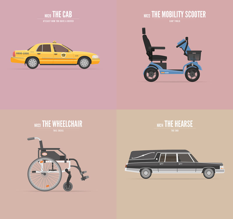 The third part of the illustration series by Richard Beerens and Ronald Mica. This last section illustrates the last wheels we ride in our lives.