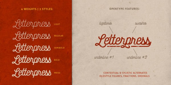 The family is equipped with 4 weights and 2 styles as well as several OpenType features such as Ligatures, Swashes, Unterlines, and many more.