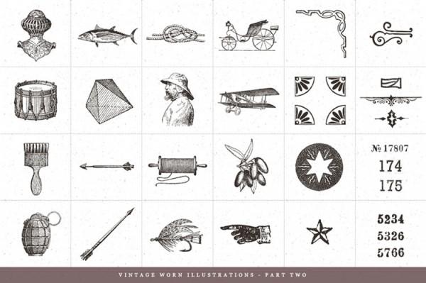 Vintage worn illustrations – part two.