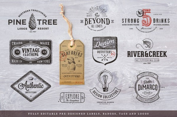 Fully editable pre-designed labels, badges, tags, and logos.