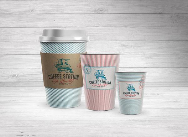 Cups to go in three basic sizes.
