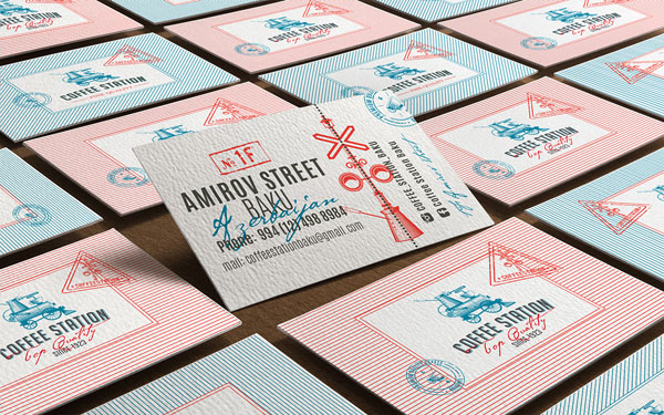 The Coffee Station business cards created by Olena Fedorova, a Lviv, Ukraine based graphic designer and illustrator.